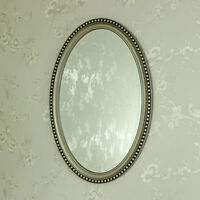 Champagne oval wall mirror shabby vintage chic bathroom girls bedroom home gift