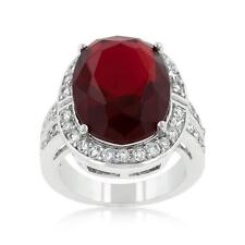 16.8 TCW Red Ruby Oval & Round Cut CZ Antique Halo Style Cocktail Ring Size 8