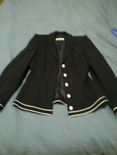 ESCADA Wool Black Blazer with White Piping Size EUR 36 Excellent Condition