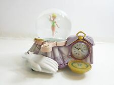 DISNEY SNOWGLOBE MUSIC & CLOCK TINKER BELL A DREAM IS A WISH YOUR HEART MAKES