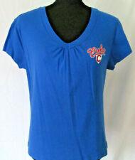 Chicago Cubs MLB Blue V-Neck Womens Size Medium 100% Cotton Tee Shirt Top