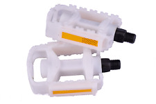 "Ammaco Replacement Kids Bike Pedals White Plastic 1/2"" Steel Axle Non-Slip Pair"