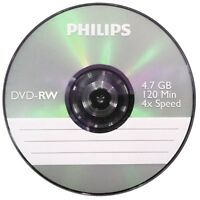 Philips DVD-RW 120 Mins 4.7GB 4x Speed Recordable Blank Discs  2 discs in Sleeve