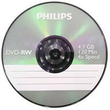Philips DVD-RW 120 Mins 4.7GB 4x Speed Recordable Blank Discs - 5 Pack Sleeve