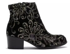 Girls Youth Mia Black Velvet Gold Sequin Boots Booties Size 1 Nib $70