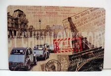 """Plaque Métal Tôlée Vintage """"2CV Tour Eiffel France"""" 20 X 30 cm Neuf Emballé"""