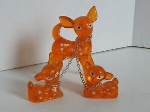 Mid Century Modern Acrylic Orange Spotted Deer Family Mama 2 Babies Chain Leash