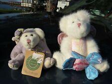 2 SMALL BOYDS PLUSH ANGEL TEDDY BEARS BUTTERFLY KISSES MOM GLITTER & ECHO GOODN