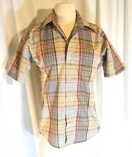 Vintage Brown, Blue & Red Check Plaid, Elbow Length, Button Down Blouse - Small
