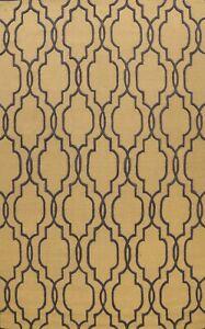 Contemporary Trellis Oriental Area Rug Modern Hand-Tufted GOLD Wool 9x12 Carpet