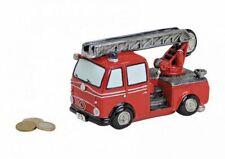 12cm Poly Feuerwehr Spardose Feuerwehrauto ca