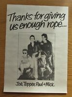 "THE CLASH GIVE EM ENOUGH ROPE 10"" x 14"" FULL PAGE MAGAZINE ADVERT POSTER PUNK"
