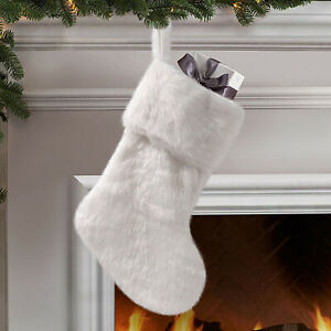 Christmas Faux Fur Short Stockings Plush Fluffy Hangers Xmas Tree Ornament Decor