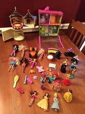 Large Lot Disney Princess Dolls Figures Polly Pocket Moped House Tangle Castle