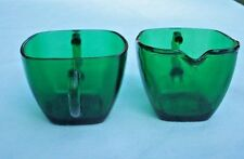 FIRE KING-ANCHOR HOCKING FOREST GREEN CHARM SQUARE CREAMER & SUGAR SET RARE FIND