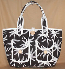 NWT KATE SPADE PXRU1077 Chocolate Brown Off White Large Canvas Tote Palm Trees