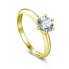 Solid 9 Carat Gold Ring 0.8ct Diamond Simple Solitaire Made New in Any Ring Size