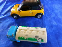 lot mignonnes  voitures de collection anciennes camion laitier et mini-cooper