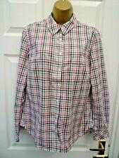 H&M LOGG Ladies Size 12 Pink Green Plaid Check Long Sleeve Blouse Shirt Top