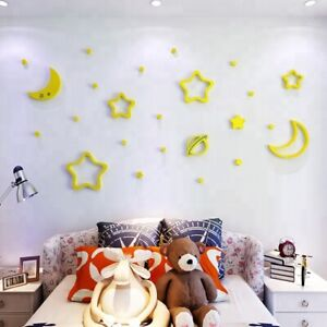 1 3d Wall Stickers acrylic Stars Space background DIY mural Self-adhesive Yellow