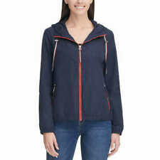Tommy Hilfiger Womens Windbreaker Hooded Jacket Rain...