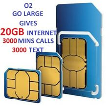 O2 SIM CARD PAY AS YOU GO 02 SIM CARD 20GB NET 3000 MINS 3000 TEXT