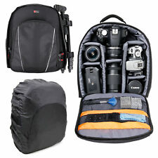 Black Padded SLR Camera Bag Backpack W/ Removable Interior & Rain Cover