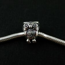 European Solid Sterling Silver Floating Charm, Wise Owl Charm, Bird Lover Charm