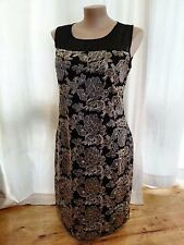 BLACK GOLD Silver metallic floral Lace Over layer Shift Dinner party DRESS 20