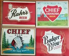Beer Bottle Labels Chief / Rahrs / Chief Oshkosh / Badger Brew (Set of 4) 12oz