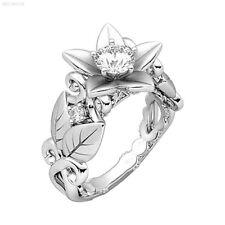 C4B9 Fingerring Silber Kristall Frauen Dame Für Zirkon Blume Geschenke
