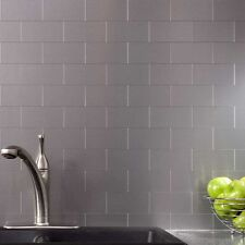 Peel and Stick Tile Kitchen Backsplash Metal Wall Tiles, Silver Subway, 32Pack