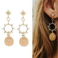 Women Crystal Sun Earrings Golden Long Earrings Pendants Boho Ear Jewelry