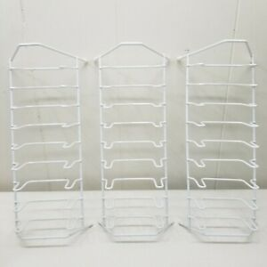 Rubber Coated Metal Plate Dish Drying Rack Set of 3 White Vintage Display Decor