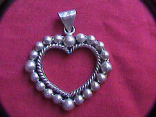 sterling silver 925 open heart pendant with hanger for chain 15.2 grams 1-5/8th""