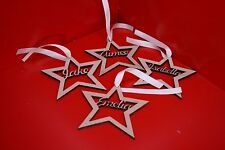 Laser Cut Personalised Wooden Name Christmas Tree Decorations Star Shape Xmas