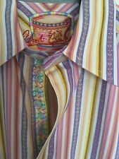 Robert Graham Shirt Size S Long Sleeve Pastel Stripes Ribbon FUNKY Poker Casino