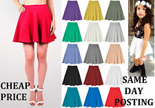UK MADE Ladies PLAIN Stretch OFFICE SKATER CIRCLE SKIRT Fit Size 8-18