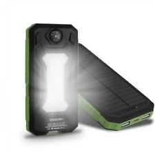 12000 mAh Portable Power Bank with Solar Charging, LED light and Compass outdoor
