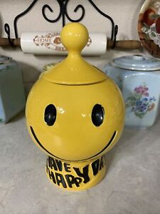 Vintage McCoy Have A Happy Day Smiley Face Cookie Jar