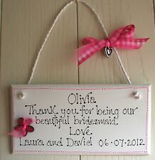Wedding Bridesmaid Wooden Plaque HEART CHARM Shabby Bespoke ADD NAMES Beautiful