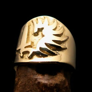 Excellent crafted Solid Brass Men's Foreign Legion Ring Winged Sword