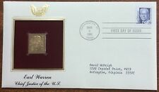 Earl warren chief justice of the us  22k gold plated stamp - first day of issue