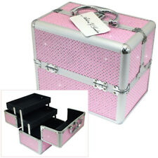 PINK DIAMANTE LOCKABLE ALUMINIUM VANITY CARRY CASE COSMETIC BEAUTY JEWELLERY BOX