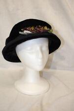 "NWOT HOPELESS ROMANTIC Black Velour ""Jane Eyre"" Hat W/Floral Decor OS USA-B114"