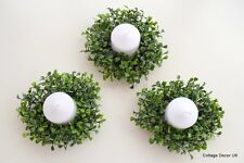 SET OF 3 ARTIFICIAL BUXUS BOXWOOD CANDLE RINGS EASTER WREATH TABLE CENTREPIECE