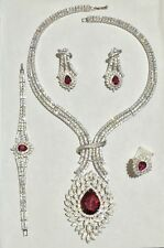 STERLING SILVER 925 SIMULATED RUBY AND CZ SET OF 4 COMPLETE WEDDING JEWELRY SET