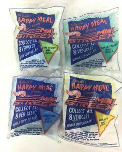 McDonalds Hot Wheels Mini Streex 1992 Happy Meals Set Lot of 4 Sealed Items
