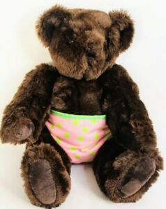 """Vermont Teddy Bear Classic 16"""" Jointed Brown Bear in Authentic Pink Shorts"""