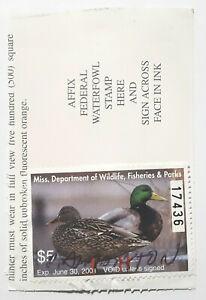 US 2000 Mississippi Dept. of Wildlife Conservation Waterfowl Stamp on License